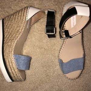 See by Chloe Denim and Leather Espadrille Wedge